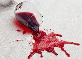 Spilling wine on carpet